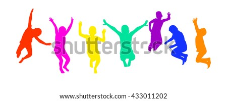 A child silhouette jumps. Vector - stock vector