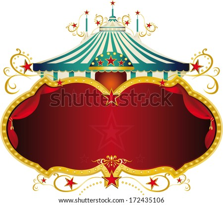 A circus frame with a big top and a large copy space for your message. - stock vector