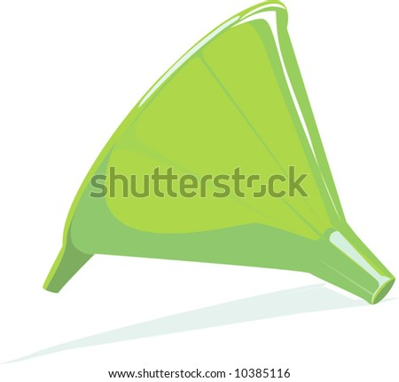 a funnel using for transferring liquid	 - stock vector