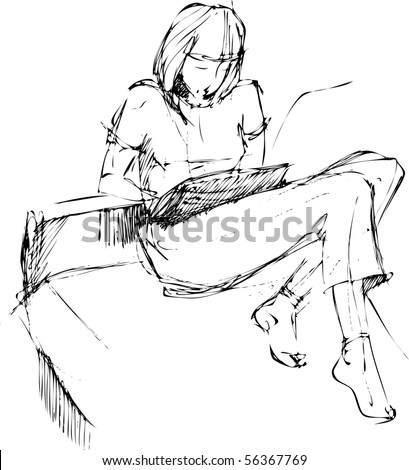 a girl reads on a sofa