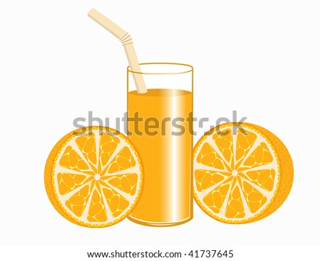 A glass of orange juice and oranges