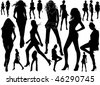 A lot of vector black silhouettes of beautiful women on white background - stock photo
