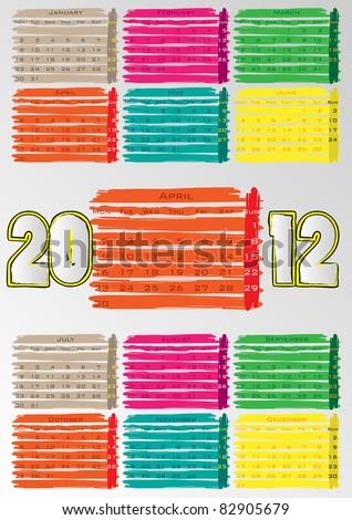 2012 A3 paint calendar for 12 months.April. - stock vector