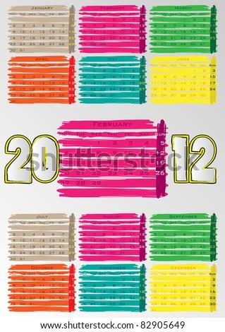 2012 A3 paint calendar for 12 months.February. - stock vector