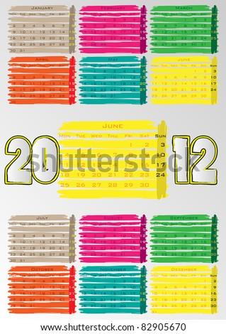 2012 A3 paint calendar for 12 months.June. - stock vector