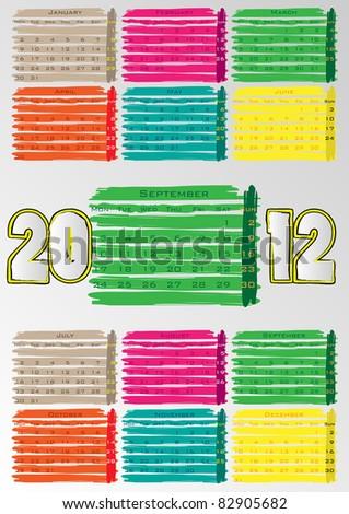 2012 A3 paint calendar for 12 months.September. - stock vector