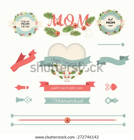 A set of cute design elements for Mother's Day. Vector illustration - stock vector
