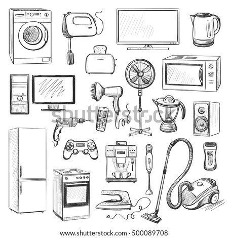A Set Of Graphic Quality Images Of Household Appliances. Kitchen Appliances,  Cleaning, Cooking