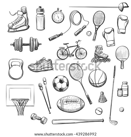 A set of isolated vector sketches relating to sport . Sports equipment , footwear .