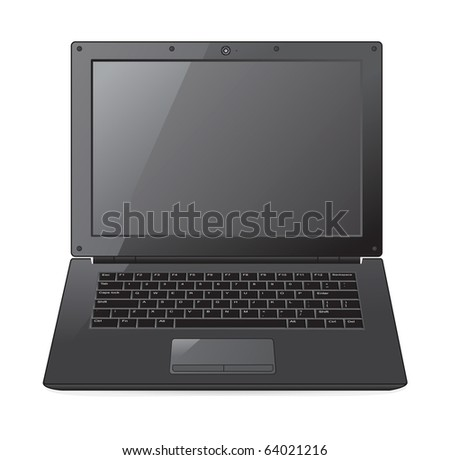 A vector illustration of isolated laptop computer - stock vector