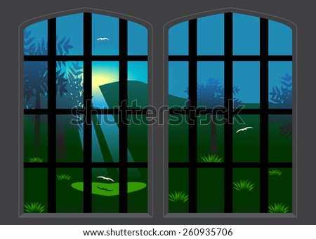 A view from the window on a garden with birds, trees and a shadow in the form of heart - stock vector