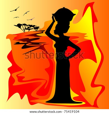 abstract African women - stock vector