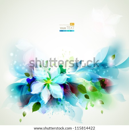 Abstract blue artistic Backgrounds with floral - stock vector