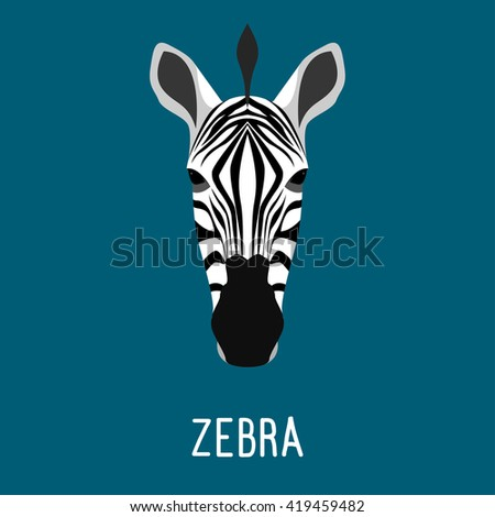 Abstract cartoon zebra portrait. Funny childish zebra head isolated on blue. Flat zebra portrait for card, placard, invitation, book, poster, note book, sketch book.  - stock vector