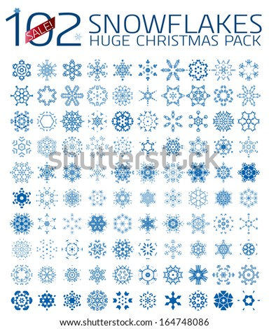 102 abstract Christmas snowflakes. Huge icon set isolated on white - stock vector