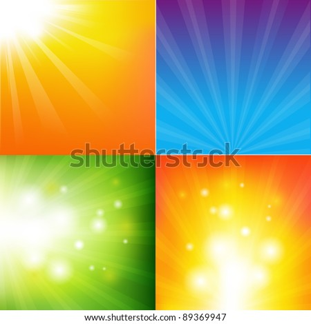 4 Abstract Color Sunburst Backgrounds, Vector Illustration - stock vector