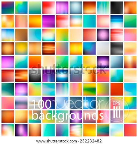 100 abstract colorful smooth blurred vector backgrounds for design - stock vector