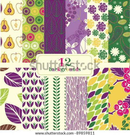 12 abstract floral backgrounds - stock vector