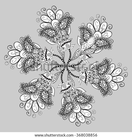 Abstract Floral Illustration Design Element. Monochrome version. - stock vector