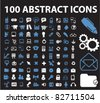 100 abstract icons, signs, vector illustrations - stock vector