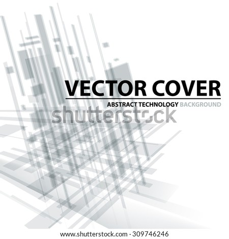 Abstract modern cover with text and heading. Technology or business or science light grey background. Digital design, transparent geometric shapes. Futuristic style. Vector version - stock vector