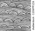 abstract seamless pattern with stripes and half-circles, seamless abstract hand-drawn pattern, waves background - stock vector