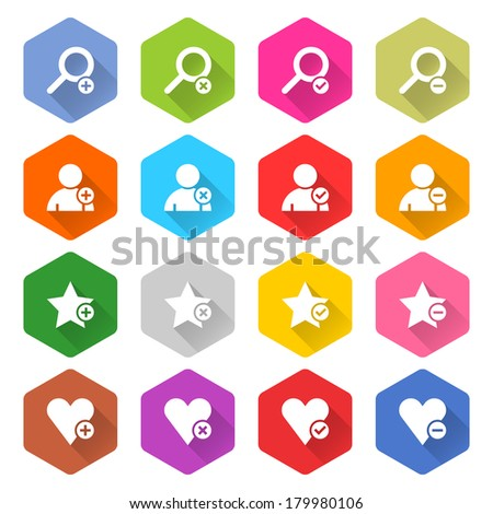 16 addition icon set 07 (white sign on color). Rounded hexagon web button on white background. Simple minimalistic flat long shadow style. Vector illustration internet design graphic element 10 eps - stock vector