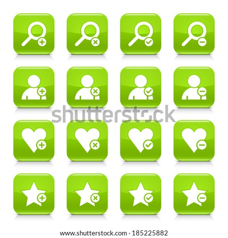 16 additional icon set 07. White sign on green rounded square button with gray reflection, black shadow on white background. Glossy style. Vector illustration web design element in 8 eps - stock vector