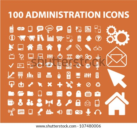 100 administration icons set, vector - stock vector