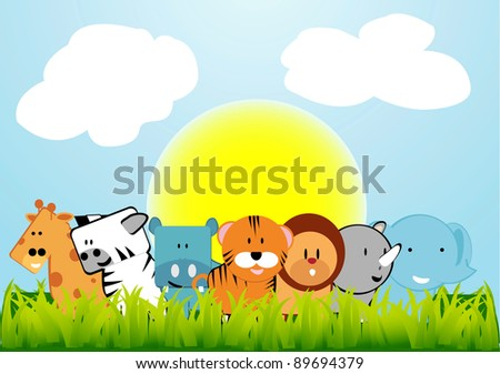 7 adorable animals in the open - stock vector