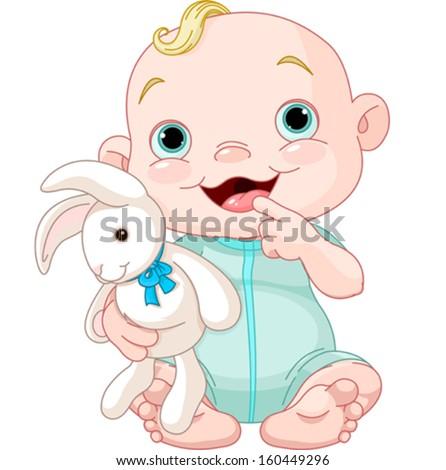 Adorable baby boy holding bunny toy - stock vector