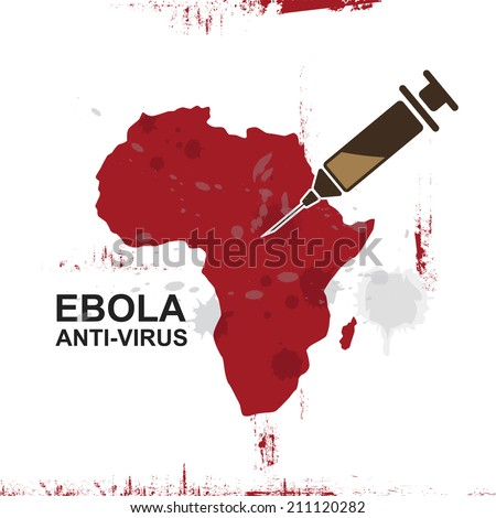 Africa map ebola anti virus and syringe,vector illustration - stock vector
