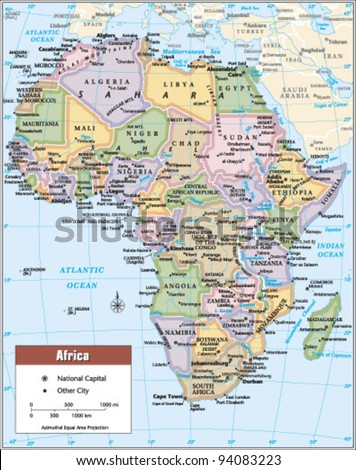 2012 Africa Political Continent Map