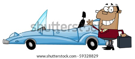 African American Businessman Waving Next To Convertible Car