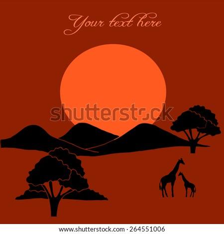 African evening savanna - stock vector