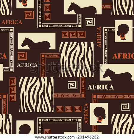 African seamless pattern with skin of zebra and beautiful ethnic woman. Vector - stock vector