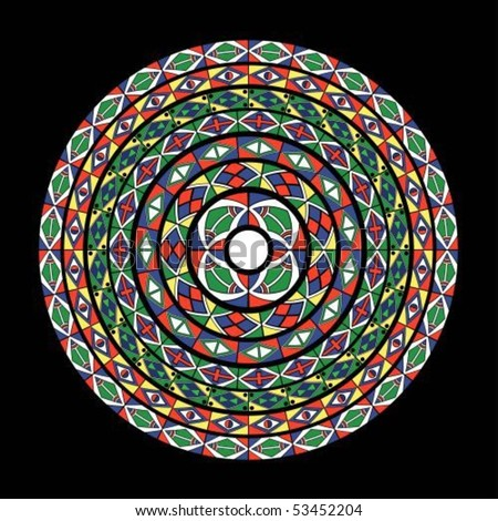 African-tribal-art circle pattern of different colors