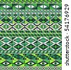 African-tribal-art seamless pattern of different green colors - stock vector