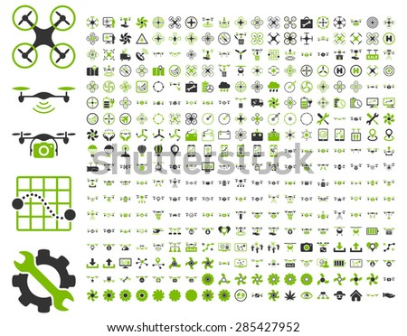 365 air drone and quadcopter tool icons. Icon set style: flat vector bicolor images, eco green and gray symbols, isolated on a white background. - stock vector