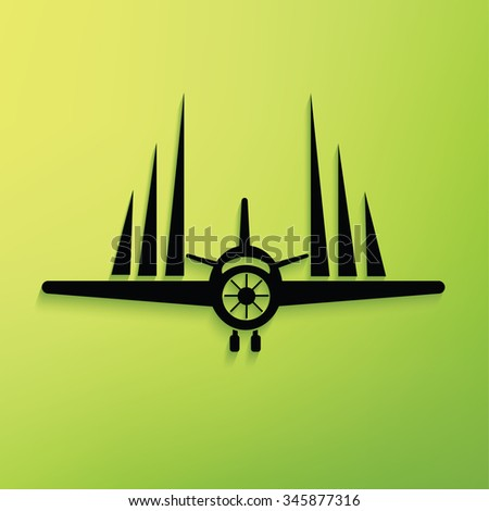 Airplane on green background,clean vector - stock vector