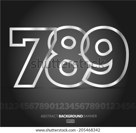 Alphabet Set number  of silver metallic fonts Vector EPS 10 illustration. - stock vector