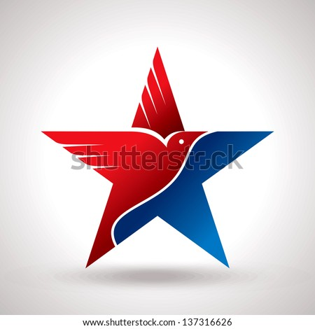 American flag and eagle symbol vector - stock vector