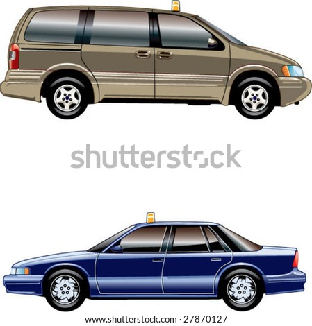 2 american taxi cars - stock vector