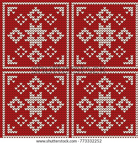 Abstract Knitted Pattern Flowers Snowflakes Red Stock Vector