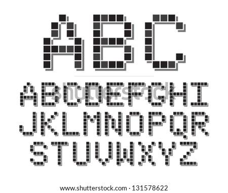 An 8 bit or pixel themed font set. Eps 10 Vector. - stock vector