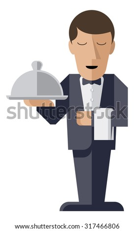 An illustration of a welcoming stylized waiter character holding a serving platter or silver cloche  - stock vector