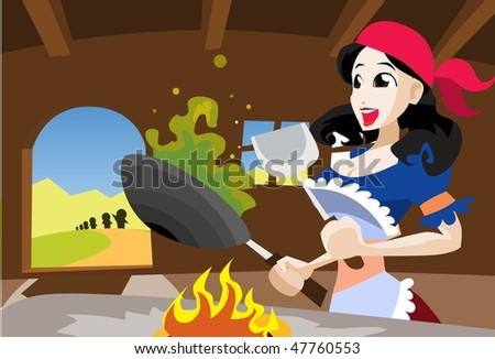 An image of Snow White merrily cooking something in a frying pan wearing a red scarf on her head and an apron to protect her clothes - stock vector