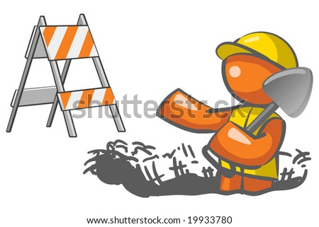 An orange man digging a hole with a roadblock element in the background. - stock vector