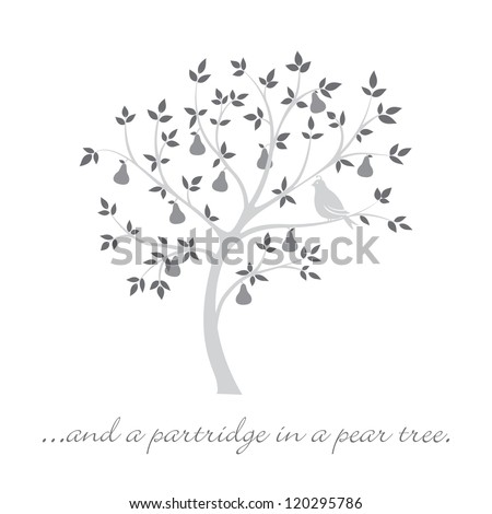 """...and a partridge in a pear tree"" Christmas card in vector format. - stock vector"