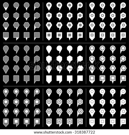 100 and 44 map pins sign location icon with gray shadow in flat style. Set 07 Simple white shapes with gray accent on black background. This vector illustration web design element save in 8 eps - stock vector